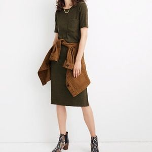 NWT Madewell Ribbed Pocket Tee Midi Dress